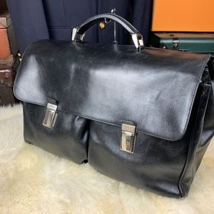 "PRADA 17"" Large Leather Briefcase Attache Mens Bag"